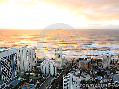 Sunrise over city by the sea aerial image Editorial Photography