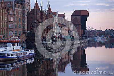 Dawn view over the river Motlawa the Old Town in Gdansk
