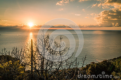 Dawning in Bordighera, Italy Stock Photo
