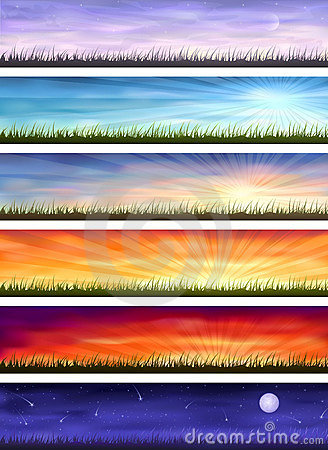 Free Day Cycle - Six Landscapes At Different Time Stock Photos - 10301963