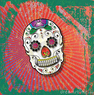 Day of the Dead Slightly Grungy Sugar Skull