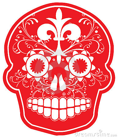 Day of the Dead Vector Red Sugar Skull