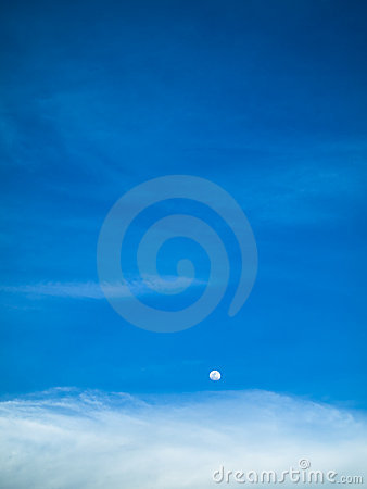 Day Moon Blue Sky
