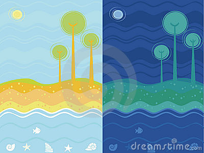 Day and night sea background