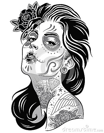 Free Day Of Dead Girl Black And White Illustration Stock Photo - 31718710