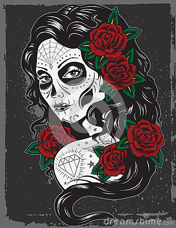Free Day Of Dead Girl Illustration Royalty Free Stock Photography - 33175177