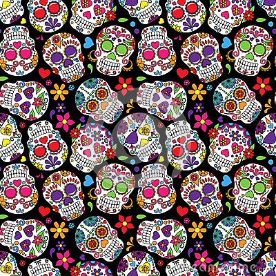 Free Day Of The Dead Sugar Skull Seamless Vector Background Stock Photography - 50137092