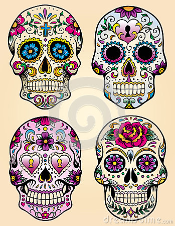 Free Day Of The Dead Vector Illustration Set Royalty Free Stock Photos - 31718758