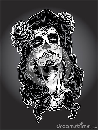 Free Day Of The Dead Woman With Sugar Skull Face Paint Stock Images - 29926474