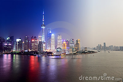 Day to night in shanghai