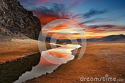 Daybreak in mongolian desert