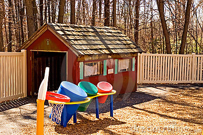 Daycare playhouse and toys