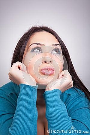 Daydream concept - pretty wishful woman