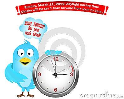 Daylight saving time begins. Blue Bird.