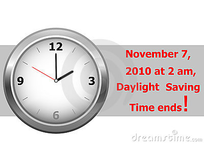 Daylight saving time ends. vector.