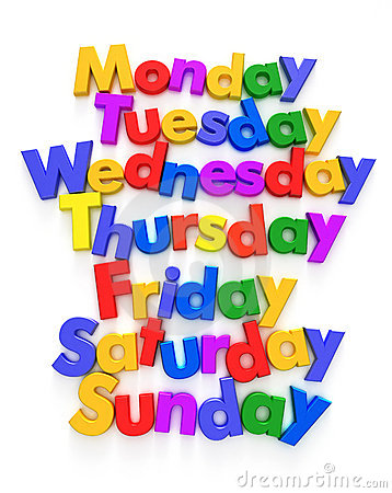 Free Days Of The Week In Letter Magnets Royalty Free Stock Photo - 11147965