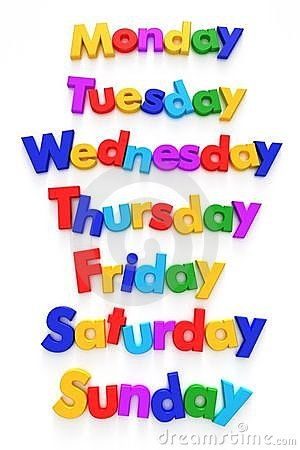Free Days Of The Week In Letter Magnets Royalty Free Stock Image - 4371776