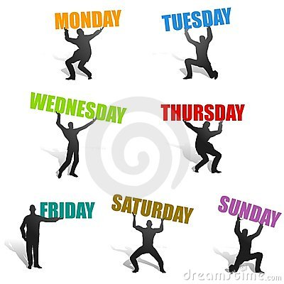 Free Days Of The Week Silhouettes Stock Photo - 4737930