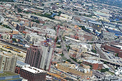 Daytime aerial view of Chicago