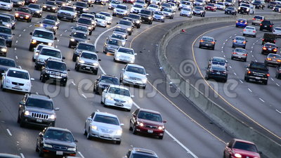 Daytime Rush Hour Traffic on Busy Freeway in Los Angeles. Busy 101 Freeway in Los Angeles