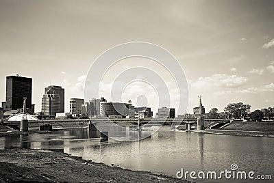 Dayton Riverscape Scene BW