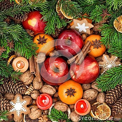 D coration de no l avec des bougies fruits crous pices - Decoration avec des bougies ...