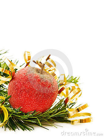D coration rouge de pomme de no l photo stock image for Decoration pomme rouge