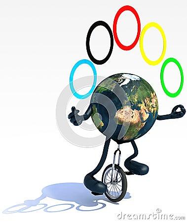 De aarde jongleert met met wapens en de benen berijdt een unicycle