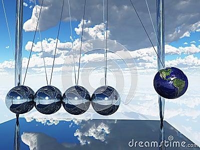 De Aarde van de Wieg van Newtons