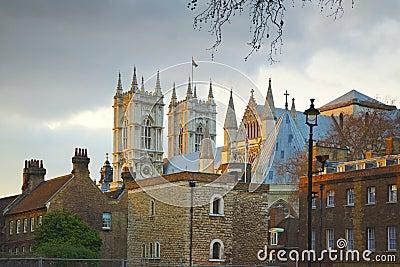 De abdij van Westminster: achter straatmening, Londen