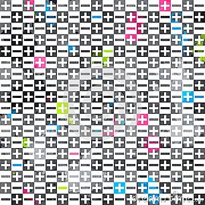 De abstracte tekens kleurden naadloos patroon met grungeeffect