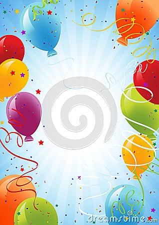 De achtergrond van de viering met ballons