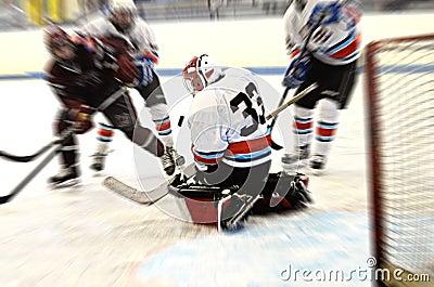 De actieonduidelijk beeld van het hockey goalie