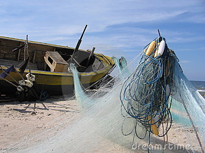 De advertentie van de boot visserijnetten