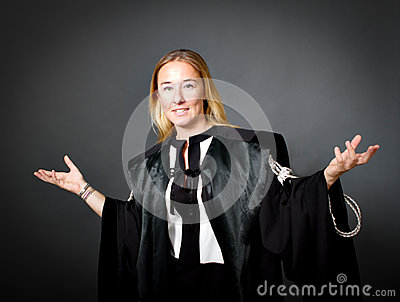 De advocaat van de vrouw het gesturing