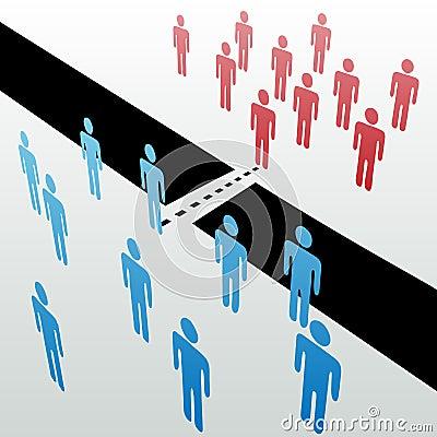 De afzonderlijke mensengroepen treden samen verenigen fusie toe