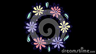 De animatie van de eindemotie met ronde bloemenkroon, groeiende aard met alpha- steenkanaal, bloeiend botanisch patroon stock illustratie