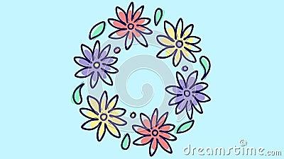 De animatie van de eindemotie met ronde bloemenkroon, groeiende aard op blauwe achtergrond, bloeiend botanisch bruids patroon, royalty-vrije illustratie