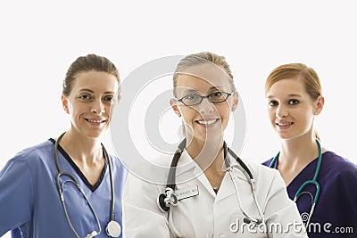 De arbeiders van de gezondheidszorg het glimlachen