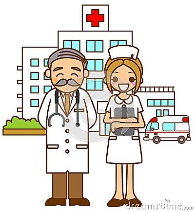 De artsen en de verpleegster van het ziekenhuis