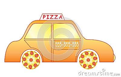 De auto van de pizzalevering