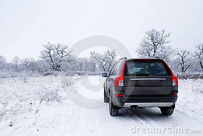 De auto van de winter