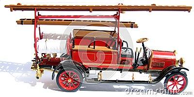 De auto van historische brandweerlieden