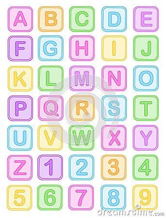 De baby blokkeert alfabet