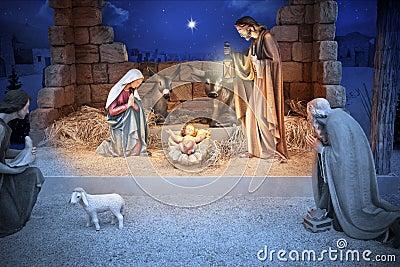 De Baby Jesus van de Geboorte van Christus van Kerstmis