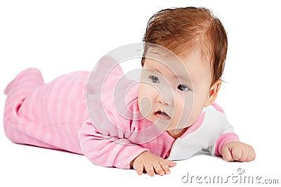 De baby leert te kruipen