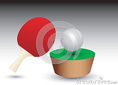 De bal en de peddel van de pingpong op lijstflard