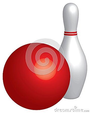 De bal en de speld van het kegelen