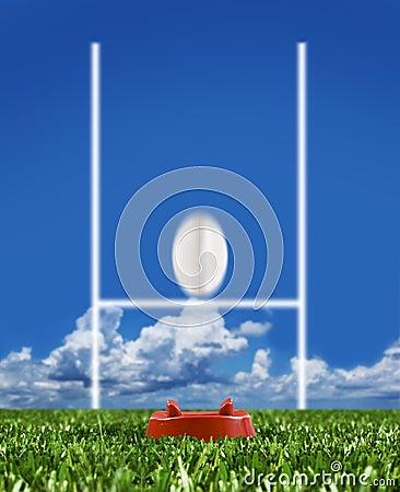 De bal van het rugby die aan de posten wordt geschopt die beweging tonen