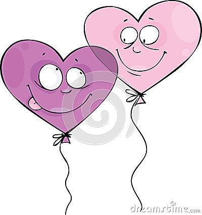 De ballons van de valentijnskaart